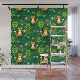 Fox and birds in the forest Wall Mural