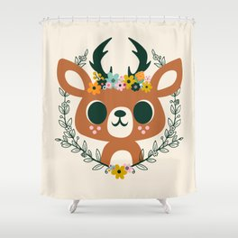 Deer with Flowers / Cute Animal Shower Curtain