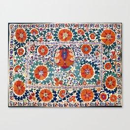 Shakhrisyabz Suzani Uzbekistan Antique Rug Canvas Print