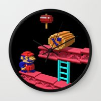 donkey kong Wall Clocks featuring Inside Donkey Kong by Metin Seven