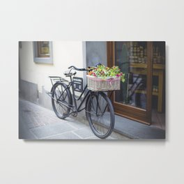 bicycle with a basket of red flowers Metal Print