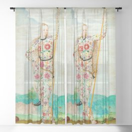 A YOUNG DAUGHTER OF THE PICTS - JACQUES LE MOYNE DE MORGUES Sheer Curtain
