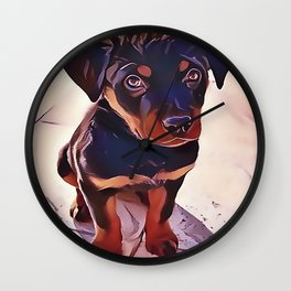 Rottweiler Puppy Born To Be Wild Wall Clock