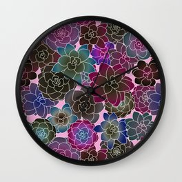 Psychedelic succulents 2 Wall Clock