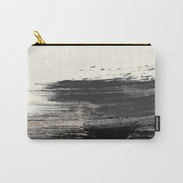 Artistic ivory black gold glitter paint brushstrokes Carry-All Pouch