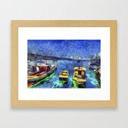Boats and Sea Impressionist Art Framed Art Print