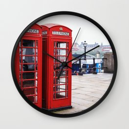 Old English Phone Boxes Wall Clock