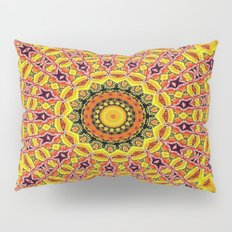 Lovely healing sacred Mandalas in yellow, orange, gold and red with a hint of white Pillow Sham