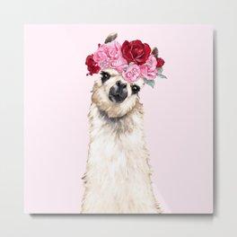 Llama with Pink Roses Flower Crown Metal Print
