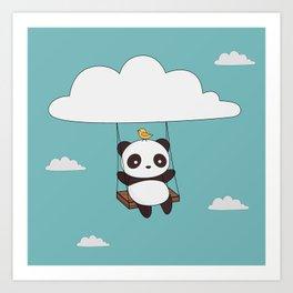 Kawaii Cute Panda In The Sky Art Print