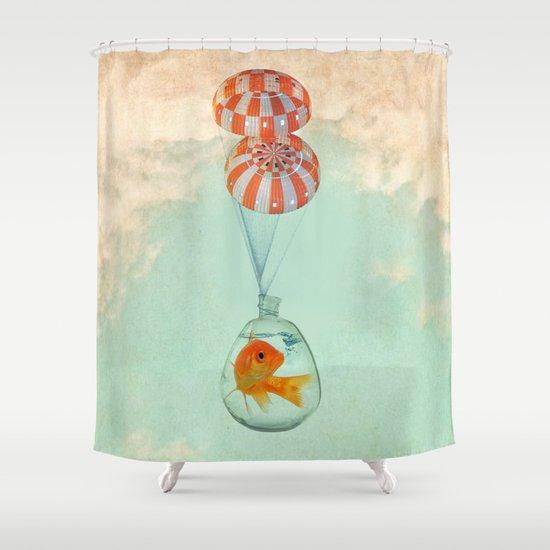 parachute goldfish Shower Curtain
