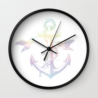 anchors Wall Clocks featuring Anchors by Amy Mancini