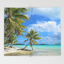 Tropical palm beach in the Pacific Throw Blanket