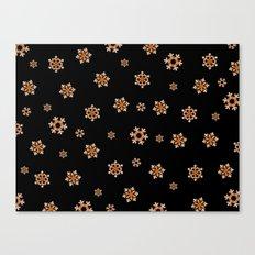 Snowflakes (Orange on Black) Canvas Print