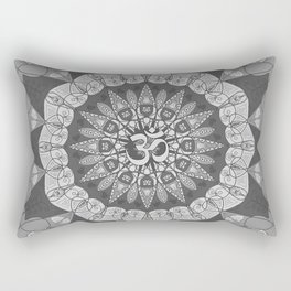Mandala pattern gray yoga namaste floral om boho Rectangular Pillow