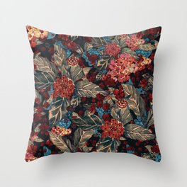 Deep moody floral watercolor - dark red,  rich dark blue and brown Throw Pillow