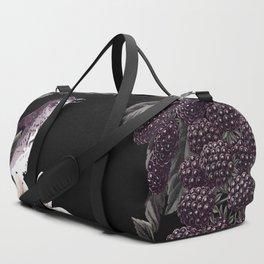 Blackberry Spring Garden Night - Birds and Bees on Black Duffle Bag