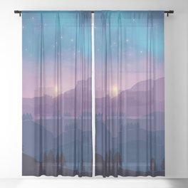 Mountain Sunset Sheer Curtain