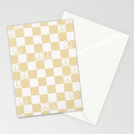 Checkered Peace Sign (Sand Color) Stationery Cards