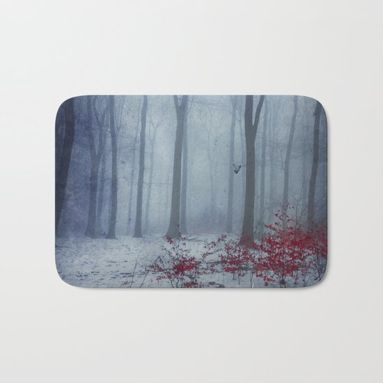 Winter Forest in Red and Blue Bath Mat