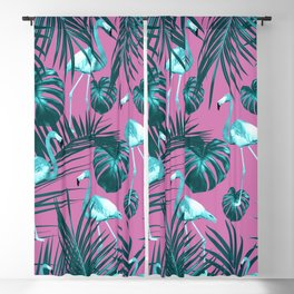 Tropical Flamingo Pattern #5 #tropical #decor #art #society6 Blackout Curtain