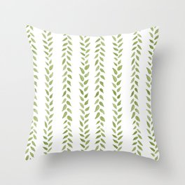 Matcha Greens - nature spring leaves green pattern Throw Pillow