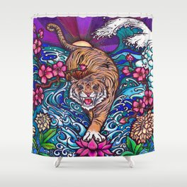 Zen Tiger by Julie Oakes Shower Curtain