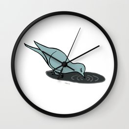 dove drinking from a puddle Wall Clock