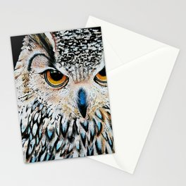 Owl portrait, acrylic on canvas Stationery Cards