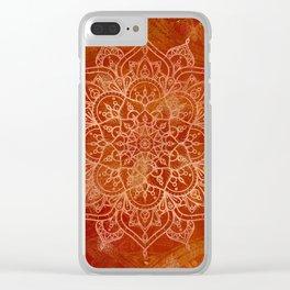 Orange Mandala Clear iPhone Case