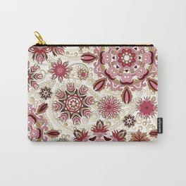 Floral pattern with stylized snowflakes. Christmas winter snow theme pattern. Carry-All Pouch