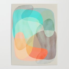 Shapes and Layers no.29 - Blue, Orange, Gray, abstract painting Poster
