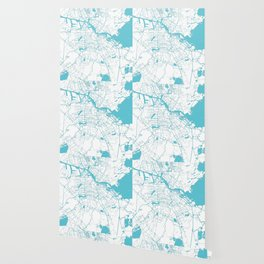 Amsterdam White on Turquoise Street Map Wallpaper