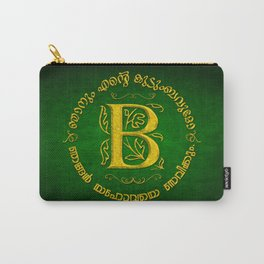 Joshua 24:15 - (Gold on Green) Monogram B Carry-All Pouch