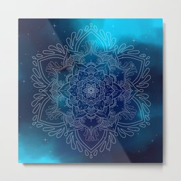 Galaxy Mandala Blue Metal Print