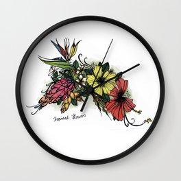 Tropical Flowers Colour Wall Clock