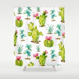 Green Cactus Watercolor Shower Curtain