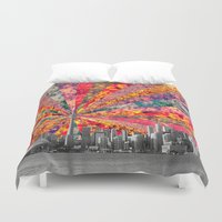 toronto Duvet Covers featuring Blooming Toronto by Bianca Green