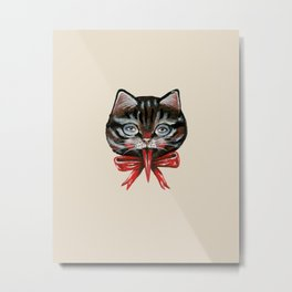 Cute Krampus cat face with red bow Metal Print