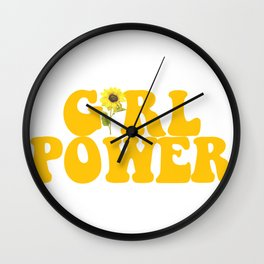 GIRL POWER SUNFLOWER Wall Clock
