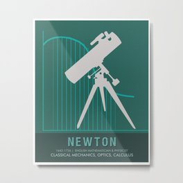 Science Posters - Sir Isaac Newton - Physicist, Mathematician, Astronomer Metal Print