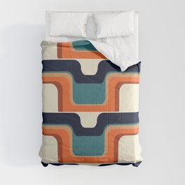 Mid-Century Modern Meets 1970s Orange & Blue Comforters