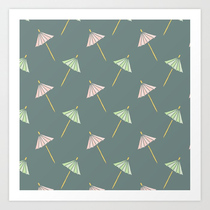 image relating to Umbrella Pattern Printable titled Cocktail Umbrella Habit Artwork Print