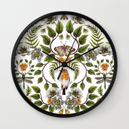 Spring Reflection - Floral/Botanical Pattern w/ Birds, Moths, Dragonflies & Flowers Wall Clock
