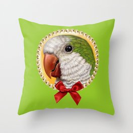 Green quaker parrot realistic painting Throw Pillow