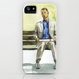 Forrest Gump (Tom Hanks) sitting on a bench with a flying feather iPhone Case