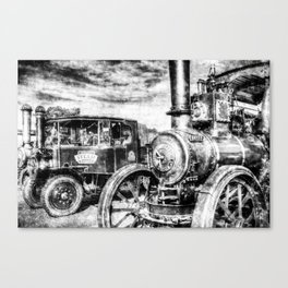 Steam Lorry And traction Engine Vintage Canvas Print