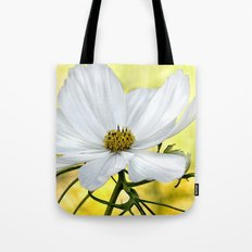 Floral White Cosmos Tote Bag
