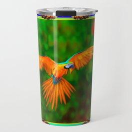 Tropical Butterfly Golden Flying Macaw Blue-Black Art Travel Mug