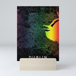 Dublin Rainbow City Map Art Print Ireland Mini Art Print